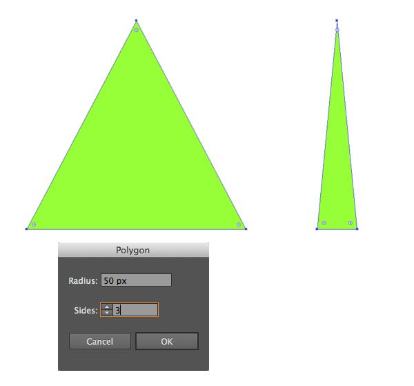 сделать треугольник с полигоном