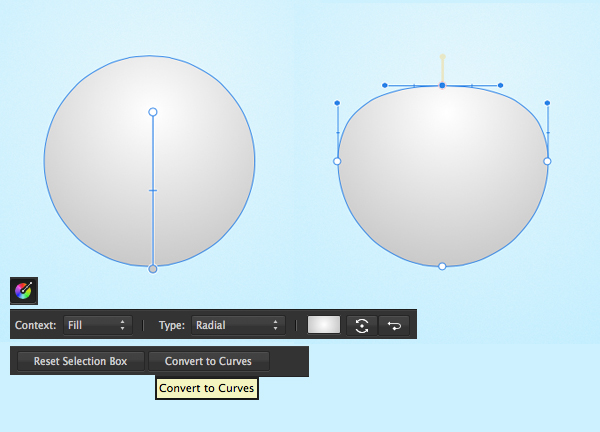form the head base with ellipse tool and radial gradient