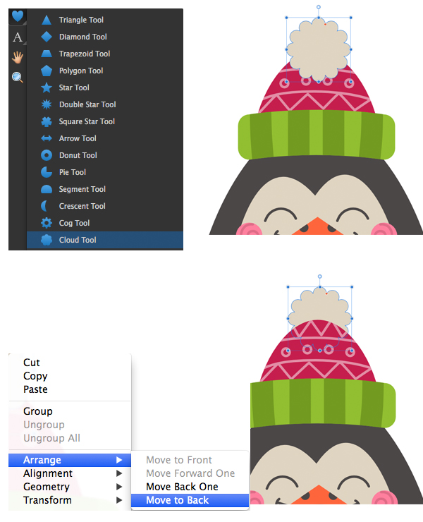 use the cloud tool to add detail to the hat