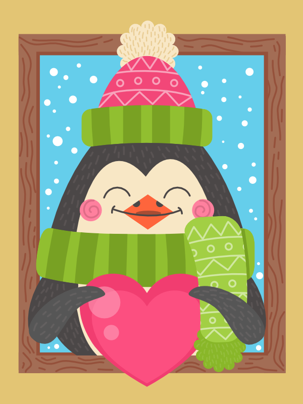cartoon penguin winter illustration in affinity designer