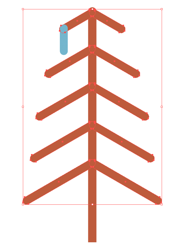 add pine needles with rounded rectangle tool