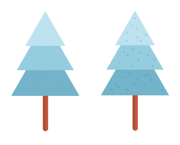 add texture to the fir tree with triangles