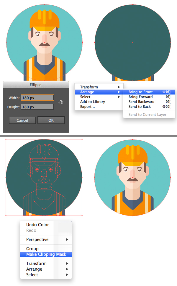 make a circle icon base and clipping mask
