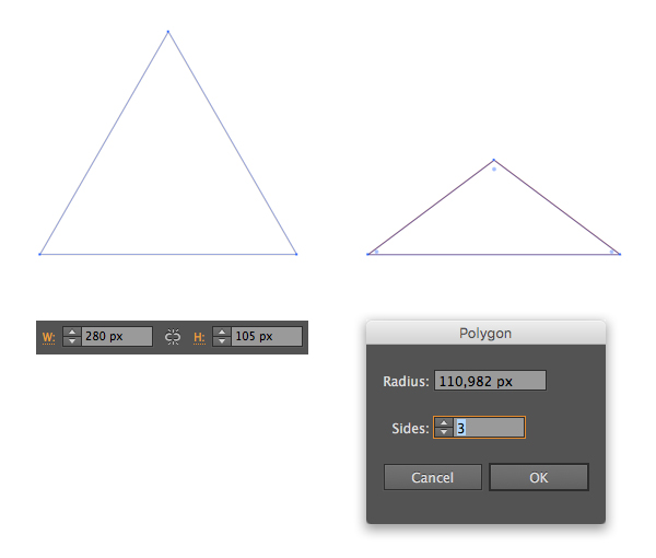 make a triangle with polygon tool