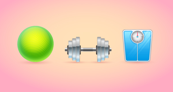 Realistic Fitness Icons Set
