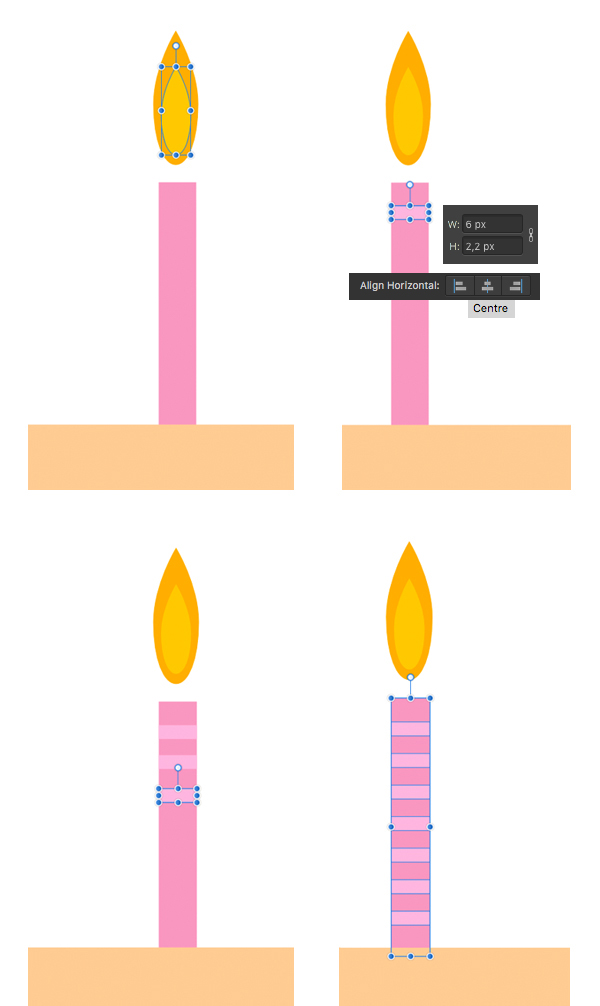 make a candle flame and stripes