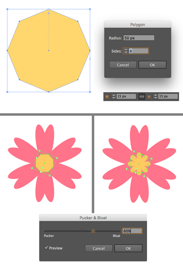 add a center to the flower