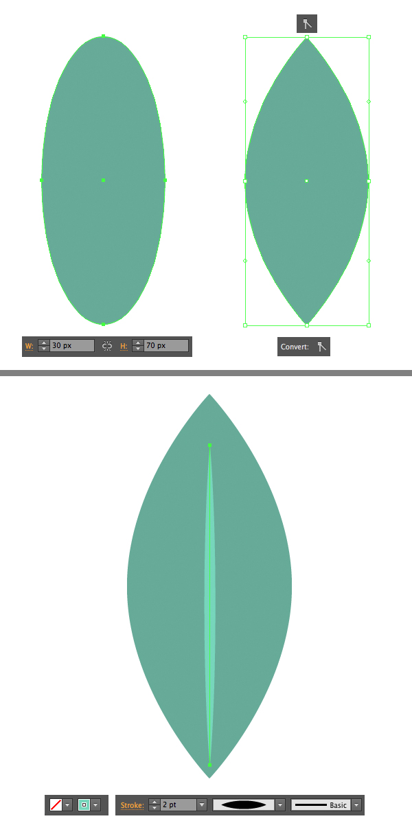 make a leaf from oval shape