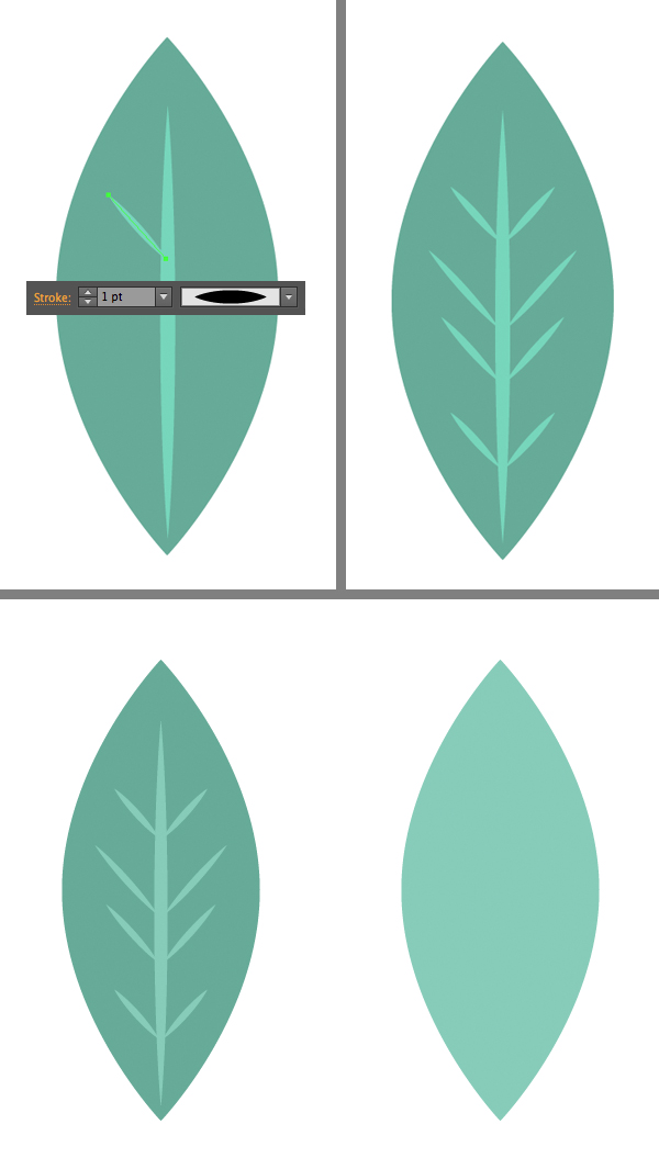 add strokes to the leaf