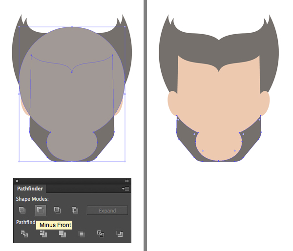 use minus front to cut out the beard
