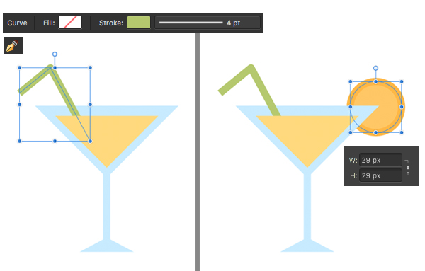 make a cocktail glass with straw