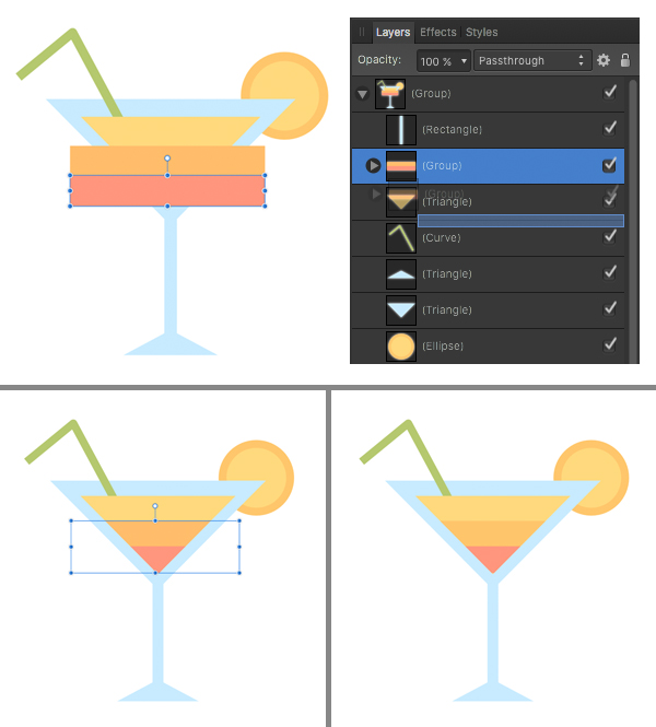 add rectangle stripes to make the cocktail layered