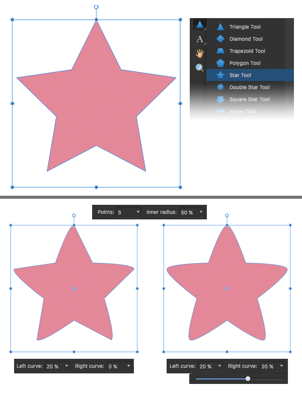 make a rounded star
