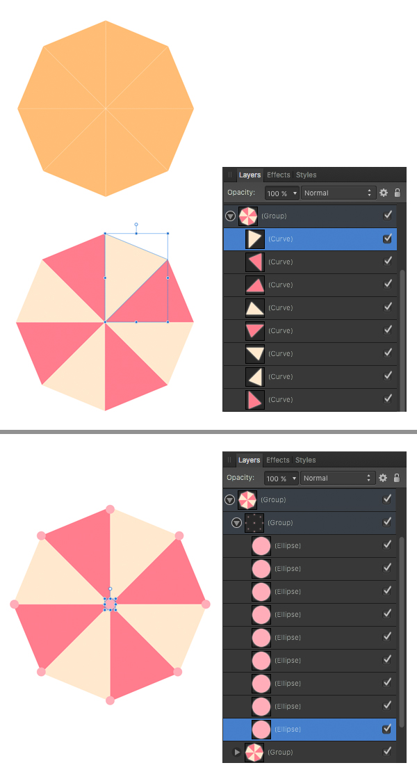 color the segments and add minor details