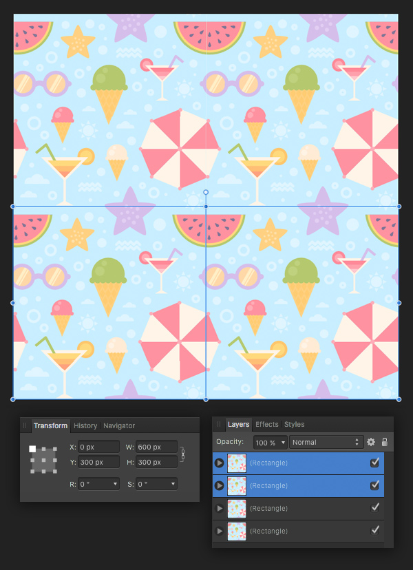 add more pieces making the pattern seamless