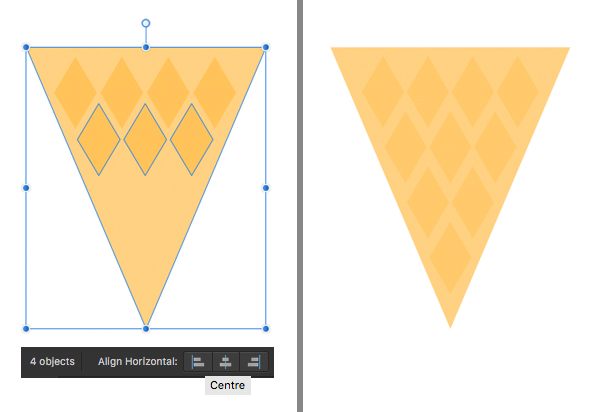 add more diamonds to make the cone textured