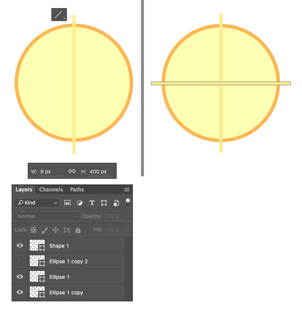 use the Line Tool to make lines across the lemon