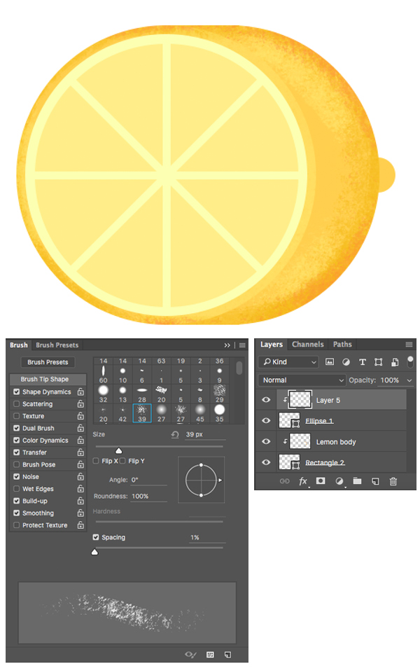make the lemon textured