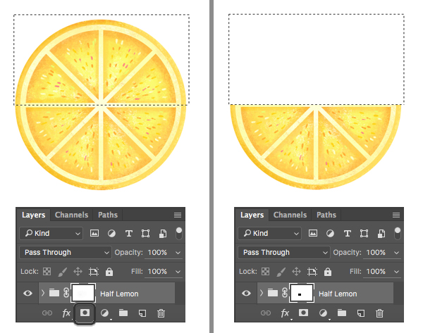 make a half-lemon slice with clipping mask