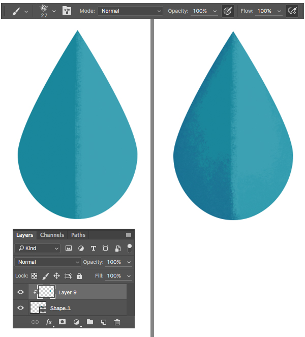 add texture to the leaf halves