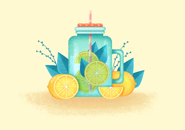 flat jar with lemonade in adobe photoshop is finished