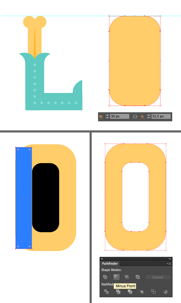 form the letter O from rounded rectangles