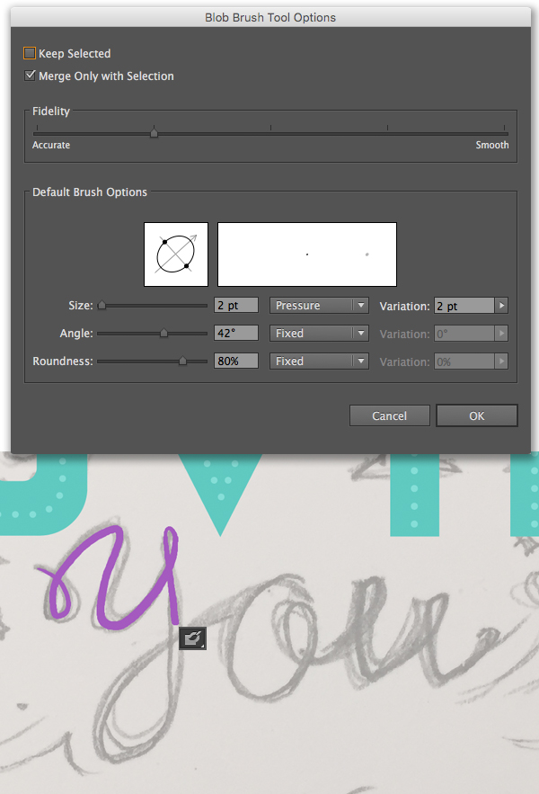use the blob brush tool for handwriting