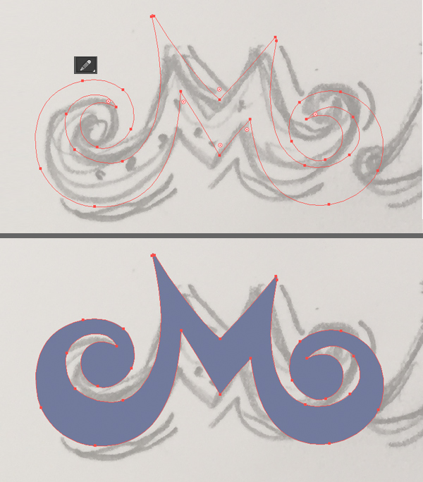 use the pencil tool to draw a letter