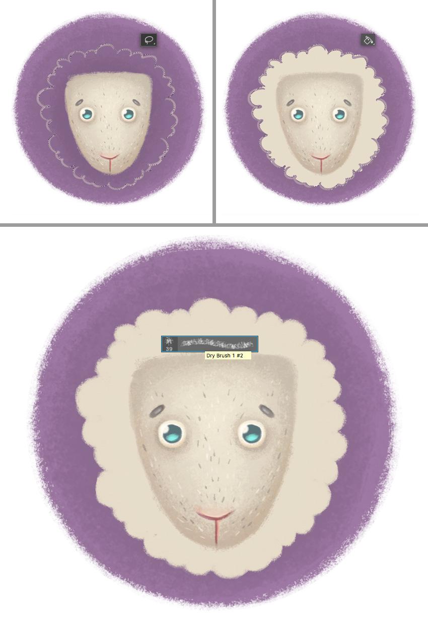 рисовать шерстяной шерсть