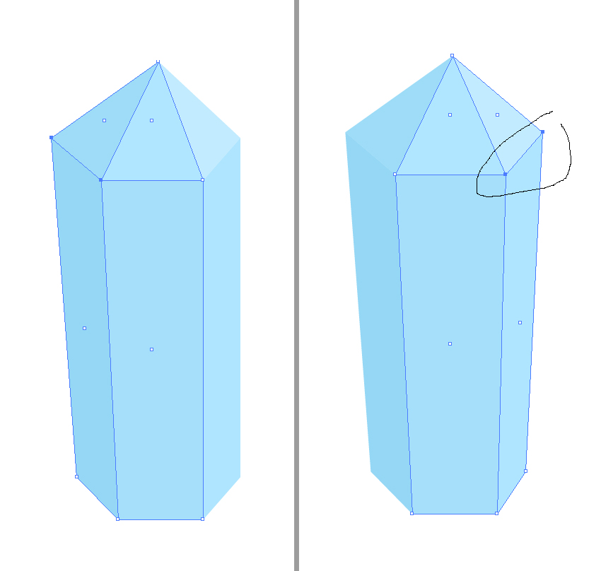 modify the crystal by moving the points