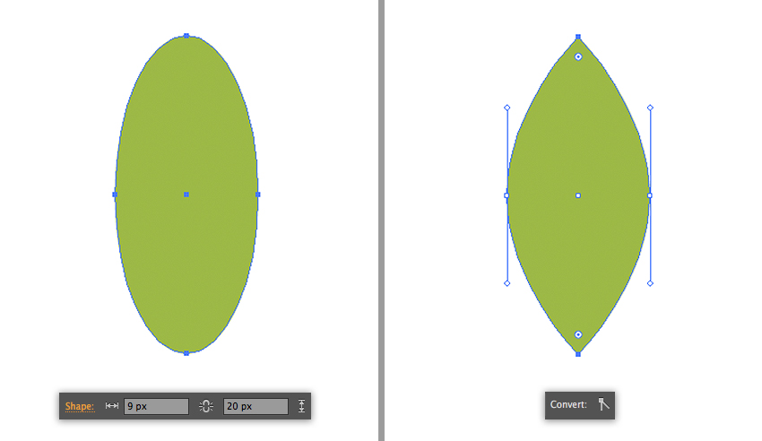 make a leaf from the ellipse