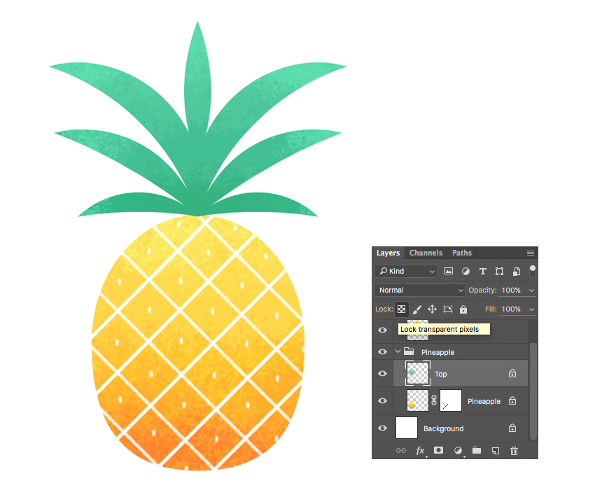 paint over the pineapple with textured brush 2