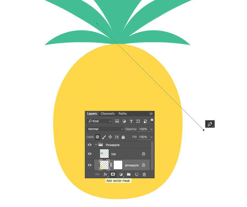 use Pen Tool P and make a diagonal line across the pineapple