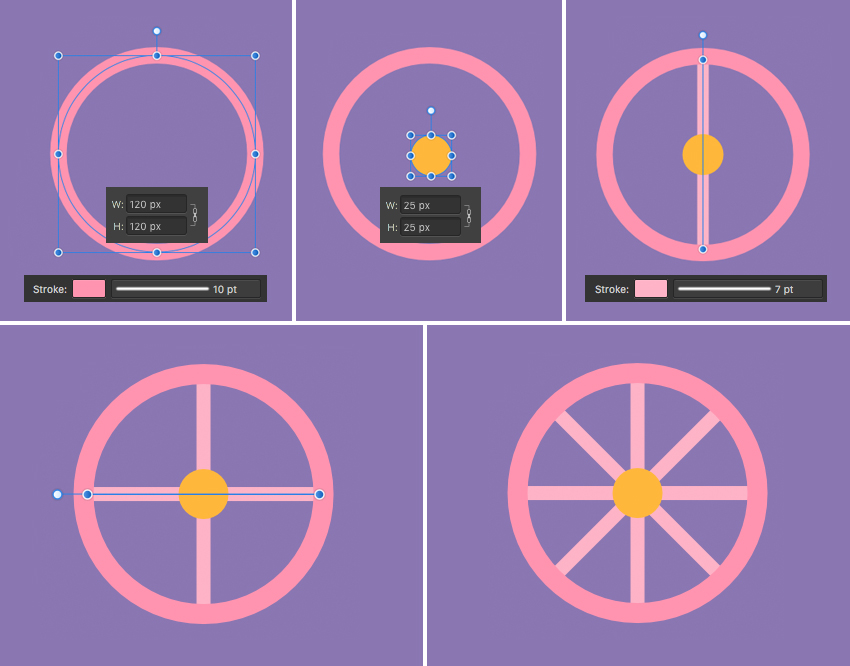 make wheel from ellipses and strokes