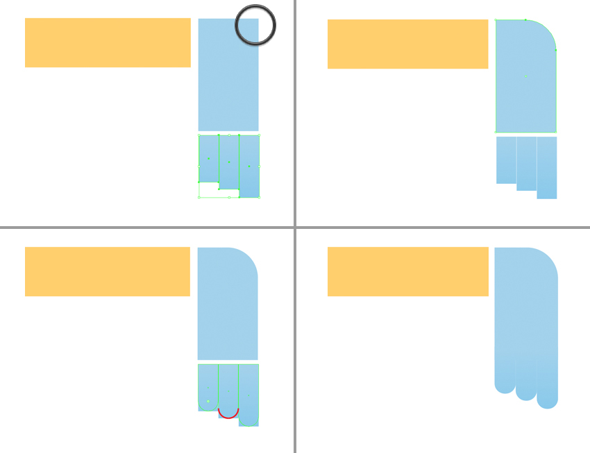 shape the foot from rectangles