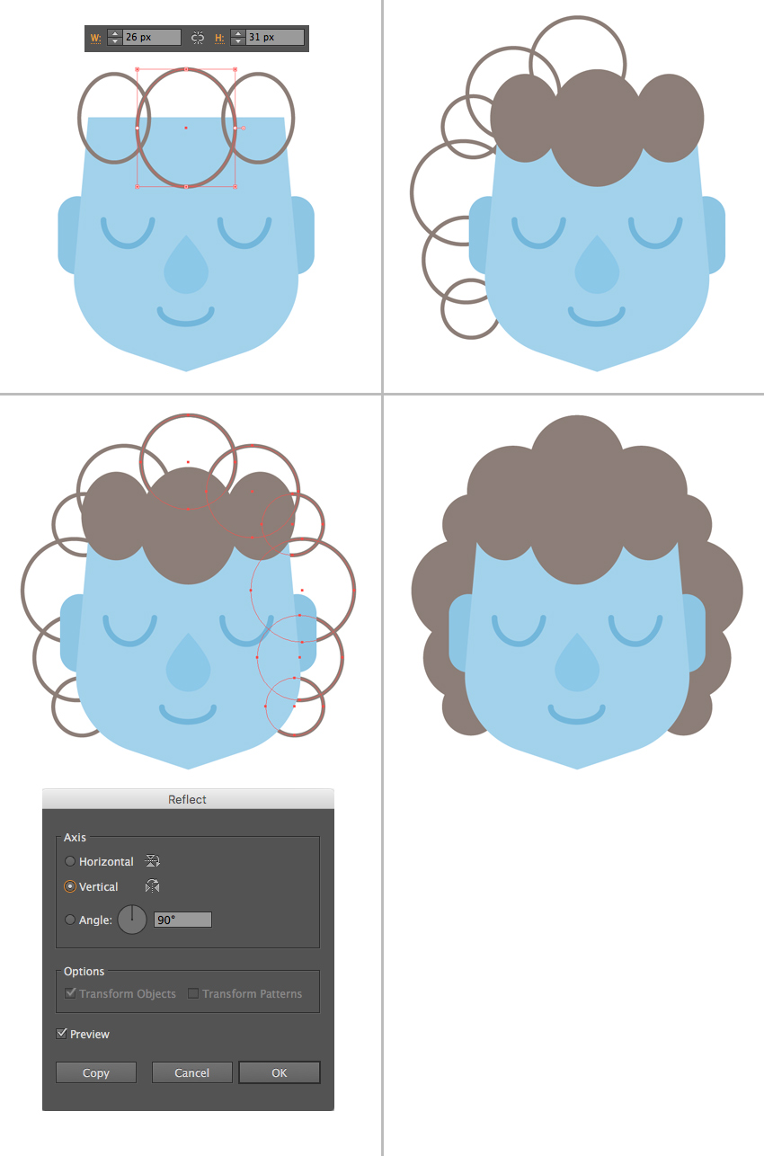 shape the curly hairdo from ellipses