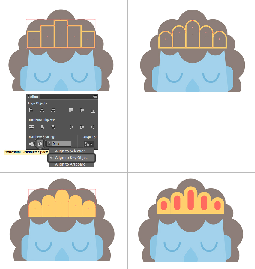 create a crown from a group of rectangles