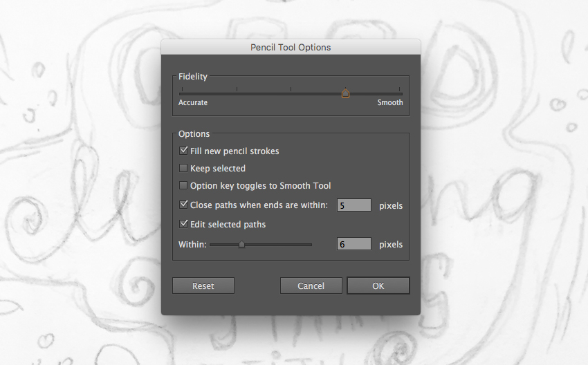 adjust the settings of the Pencil Tool