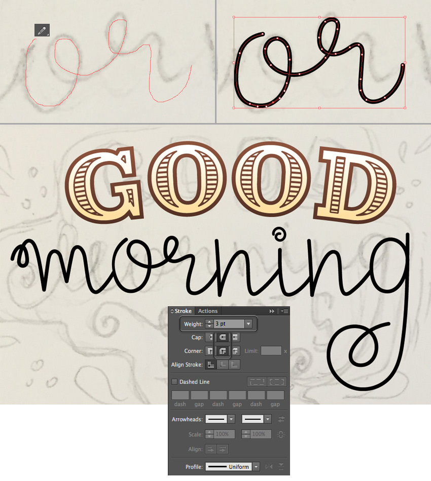 use the Pencil Tool for hand-lettering