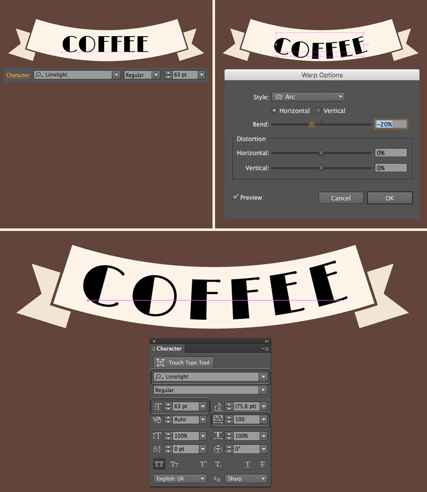 add the word coffee and apply arc effect