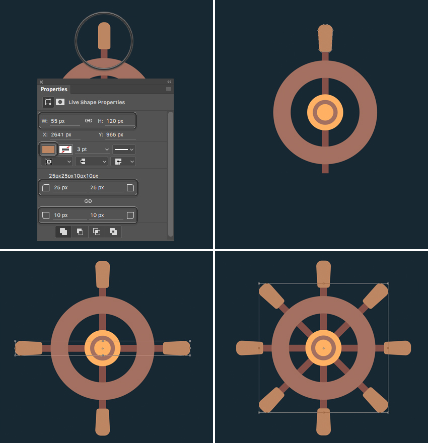 add more bars to the wheel  How to Create Flat Pirate Icons in Adobe Photoshop 11 pirate icons flat