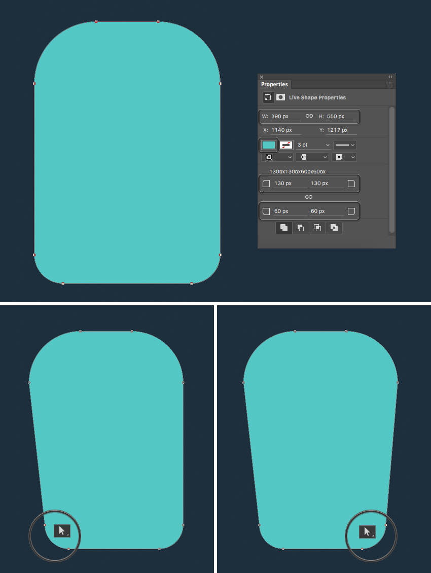make a bottle from rounded rectangle