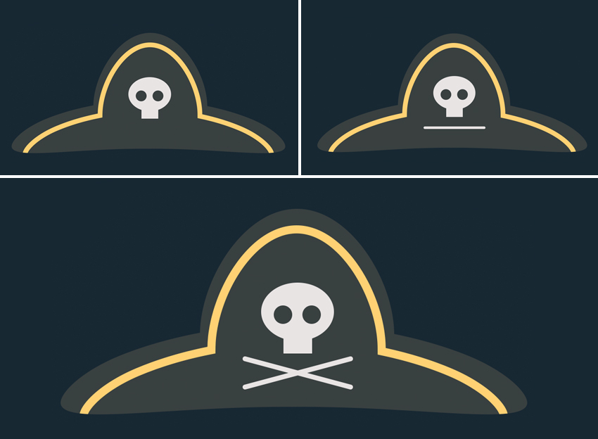 add scull and bones to the hat  How to Create Flat Pirate Icons in Adobe Photoshop 21 pirate icons flat