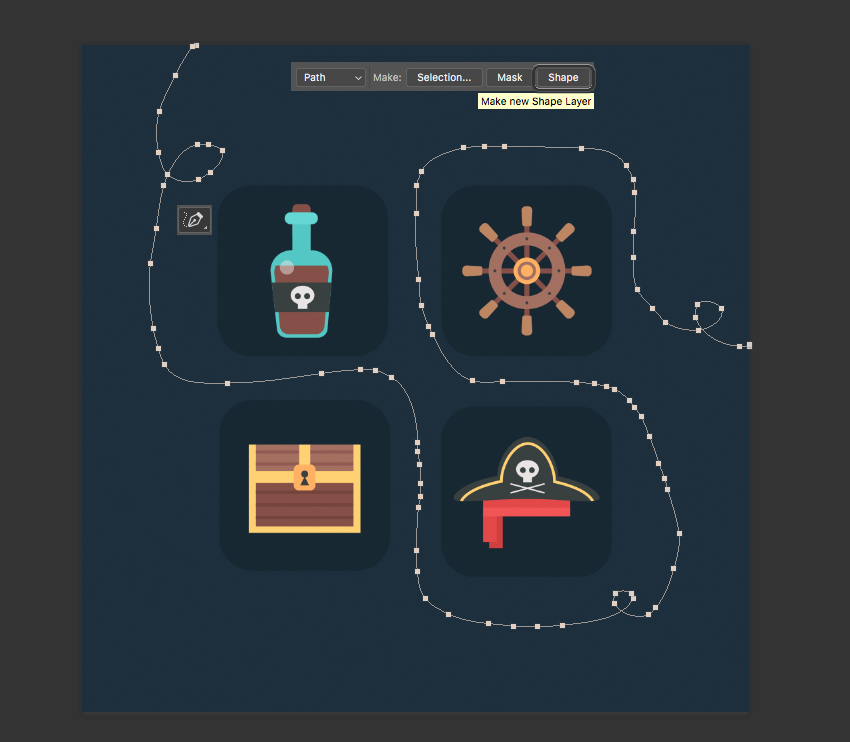 use the Freeform Pen Tool P and draw a swirly flowing line  How to Create Flat Pirate Icons in Adobe Photoshop 23 pirate icons flat