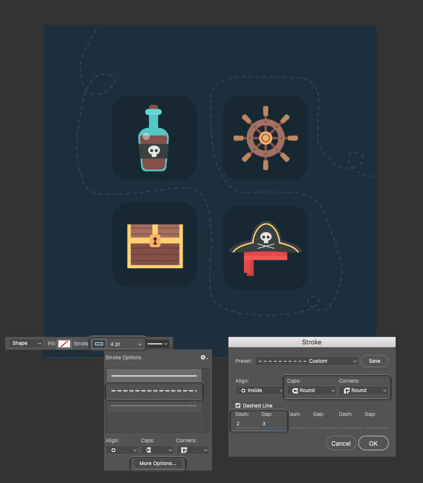 change the settings to make a dashed stroke  How to Create Flat Pirate Icons in Adobe Photoshop 24 pirate icons flat
