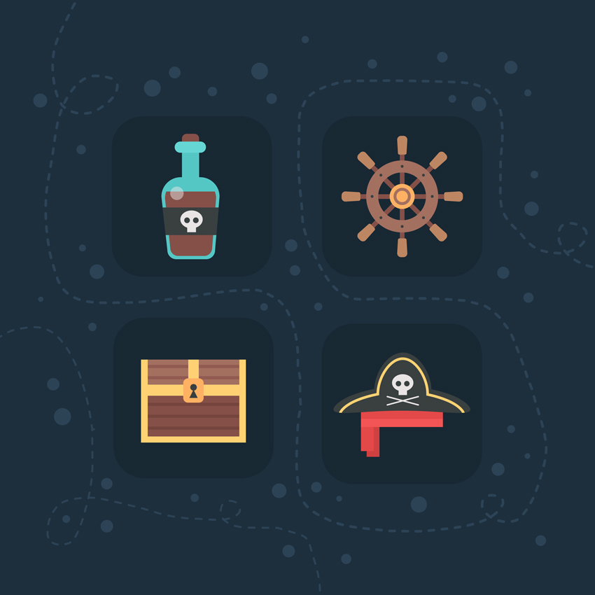 add minor details to the background  How to Create Flat Pirate Icons in Adobe Photoshop 25 pirate icons flat
