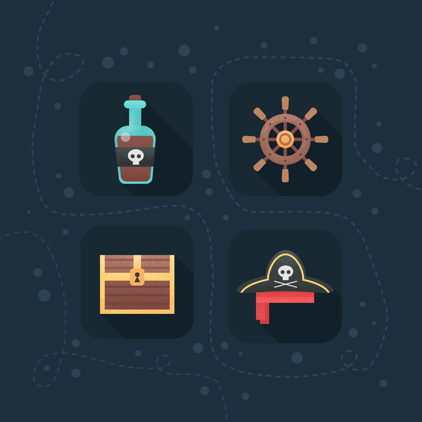Pirate Icons Set is Ready  How to Create Flat Pirate Icons in Adobe Photoshop 27 pirate icons flat