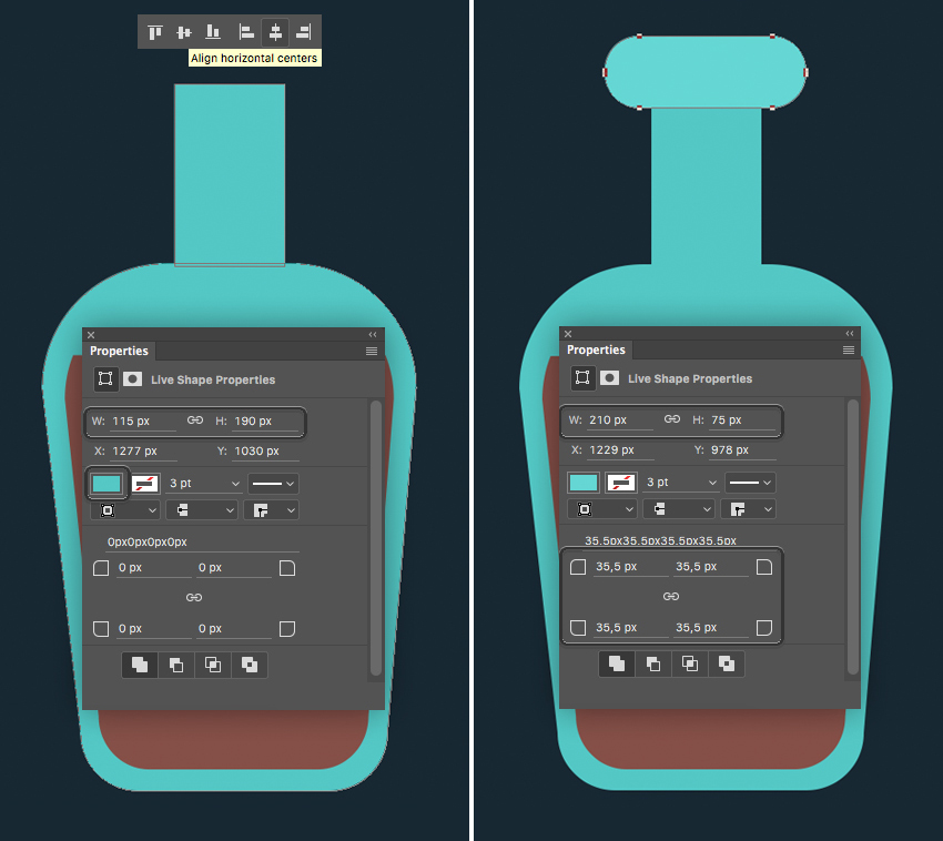 shape a bottleneck and align the shapes  How to Create Flat Pirate Icons in Adobe Photoshop 4 pirate icons flat