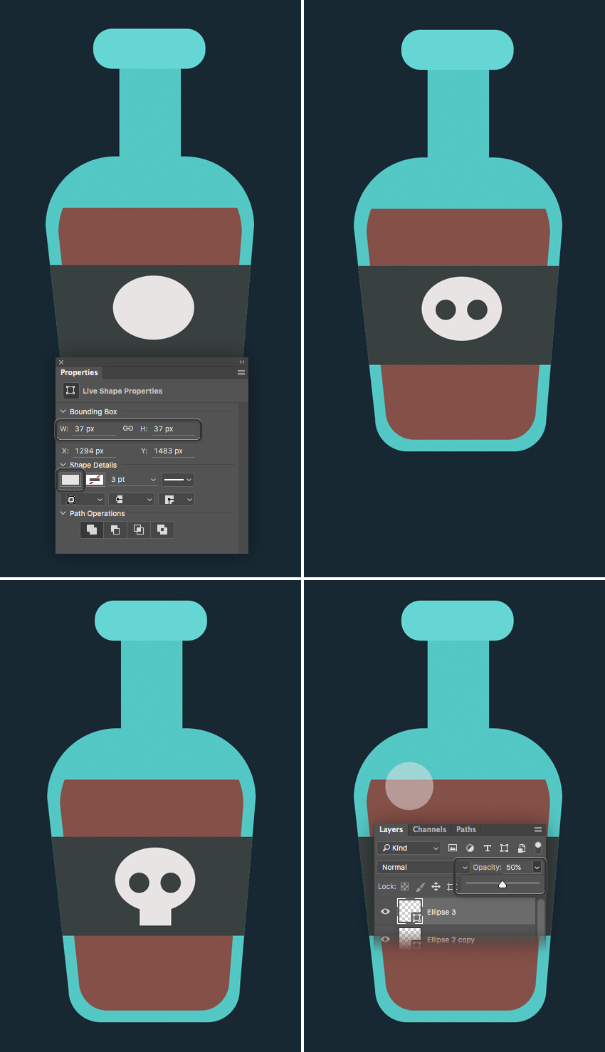 shape a stylized scull  How to Create Flat Pirate Icons in Adobe Photoshop 5 pirate icons flat