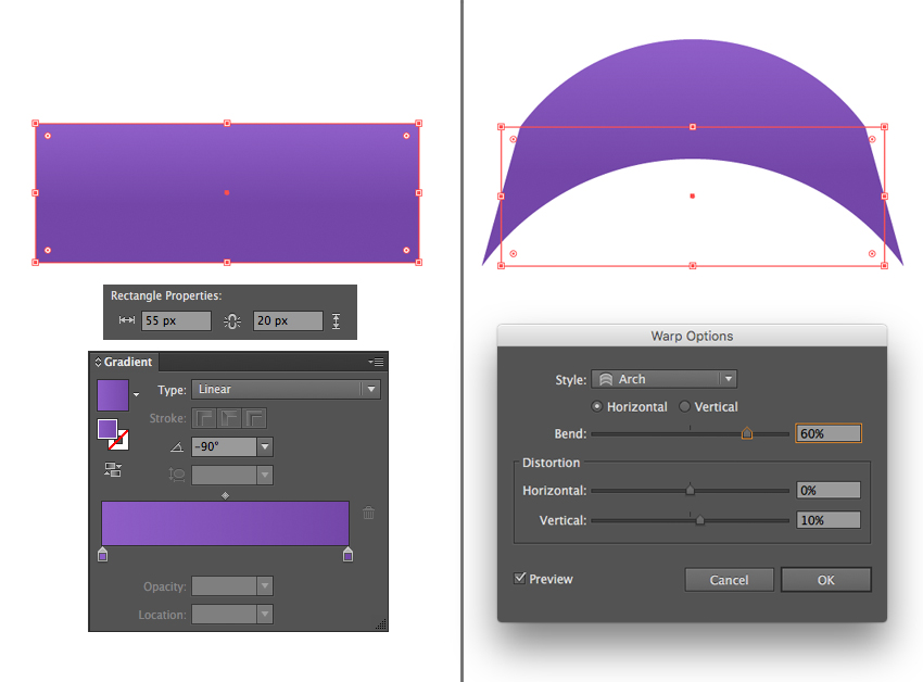 make a rectangle with dark-purple linear fill